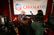 Edinburg, TX - 20 Feb 2008 -.Senator Edward Kennedy, D - MA, speaks during a press conference after a campaign appearance for Barack Obama at The University of Texas - Pan American on Wednesday afternoon.  Kennedy appeared on the same afternoon that Hillary Clinton was campaigning nearby in Hidalgo.