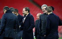 Juventus coach Massimiliano Allegri (centre) on the pitch before the press conference at Wembley Stadium, London.
