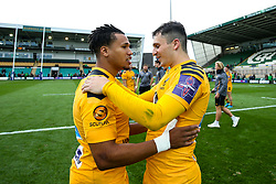 Marcus Watson of Wasps and Owain James of Wasps celebrate victory over Northampton Saints - Mandatory by-line: Robbie Stephenson/JMP - 28/09/2019 - RUGBY - Franklin's Gardens - Northampton, England - Northampton Saints v Wasps - Premiership Rugby Cup