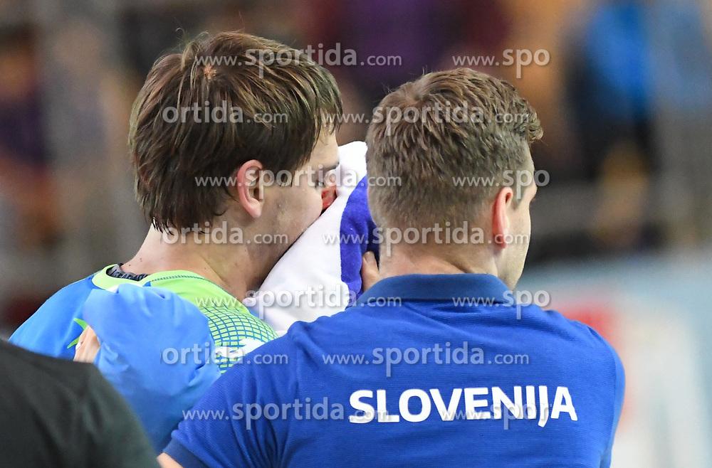 Sebastian Skube of Slovenia injured during friendly handball match between Slovenia and Srbija, on October 27th, 2019 in Športna dvorana Lukna, Maribor, Slovenia. Photo by Milos Vujinovic / Sportida