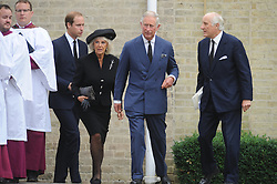 © Licensed to London News Pictures. 11/09/2013 Camilla, Duchess of Cornwall and HRH The Prince of Wales. The funeral for Hugh Van Cutsem at Brentwood Cathedral in Essex today. The Prince of Wales, The Duke of Cambridge and Prince Harry attended today 11th September 2013