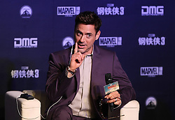 Cast member Robert Downey Jr. attends a promotional event of Hollywood superhero movie Iron Man 3 before its release in China in early May, in Beijing, capital of China, April 6, 2013. Photo by Imago / i-Images...UK ONLY.