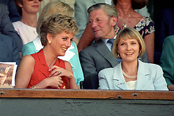 File photo dated 03/07/94 of the Princess of Wales with Julia Samuel at Wimbledon. The Duchess of Sussex looks set to have turned to her inner circle of faithful friends for son Archie's godparents.