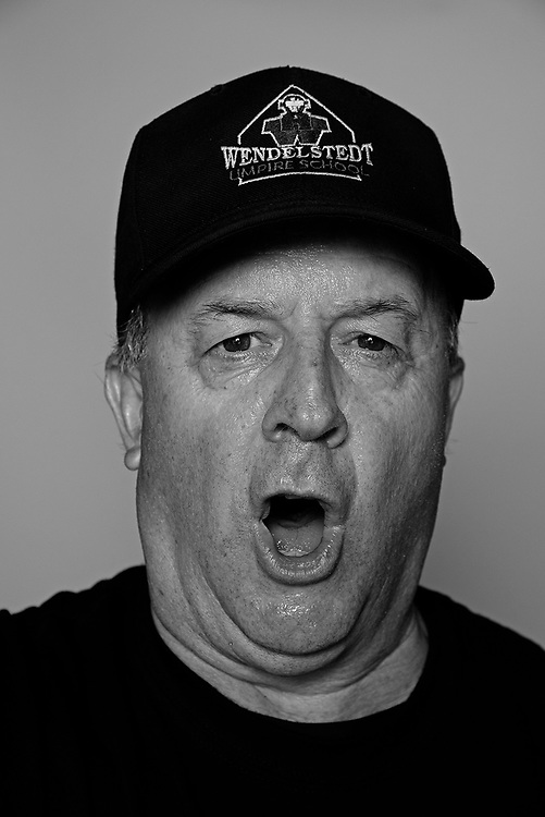 DAYTONA BEACH, FL - FEBRUARY 2, 2016:  Portraits of umpires calling a strike at the Harry Wendelstedt Umpire School in Daytona Beach, Fla.: Roger O. Brown, 60, of Gaithersburg, Maryland. (Photo by Melissa Lyttle)