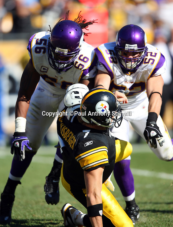 Pittsburgh Steelers quarterback Ben Roethlisberger (7) unloads a pass but gets knocked down by Minnesota Vikings linebackers E.J. Henderson (56) and Chad Greenway (52) during the NFL football game October 25, 2009 in Pittsburgh, Pennsylvania. The Steelers won the game 27-17. (©Paul Anthony Spinelli)