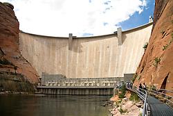 Glen Canyon, Arizona:  View of Glen Canyon Dam from the Colorado River below the dam.