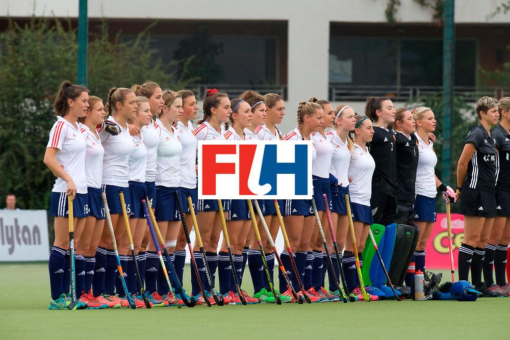 SANTIAGO - 2016 8th Women's Hockey Junior World Cup.<br /> 39 ENG v USA (7 / 8 Place)<br /> foto:  Line up England.<br /> FFU PRESS AGENCY COPYRIGHT FRANK UIJLENBROEK