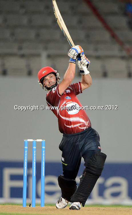 Brad Cachopa during the HRV Cup Twenty20 Cricket match between Auckland Aces and Canterbury Wizards at Eden Park on Friday 21 December 2012. Photo: Andrew Cornaga/Photosport.co.nz