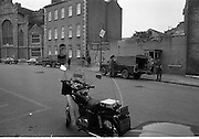 Images at Rose Dugdale Trial..1974..23.05.1974..05.23.1974..23d May 1974..Arrested after the theft of Irl£8 million worth of Old Master paintings from the collection of Sir Alfred Beit at Russborough House ,Wicklow, Bridget 'Rose' Dugdale was sent for trial at the Special Criminal Court in Green Street,Dublin. She was to be tried under Section 30 of The Offences Against the State Act. Miss Dugdale was connected to the Provisional I.R.A. and was implicated in the bombing of an R.U.C. station in Northern Ireland with her partner Eddie Gallagher. Her trial was held under massed security as there were fears of mass protests by IRA and Dugdale supporters...Image shows the heavy military and Garda presence at the court in Green Street,Dublin.