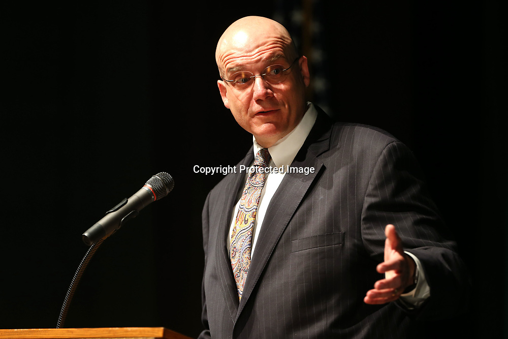 Dr. Gearl Loden, Tupelo Public School District Superintendent, speaks to faculty and staff at the district's end of the year convocation Monday morning at the Performing Arts Center at Tupelo High School.