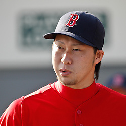 February 17, 2011; Fort Myers, FL, USA; Boston Red Sox pitcher Junichi Tazawa during spring training at the Player Development Complex.  Mandatory Credit: Derick E. Hingle