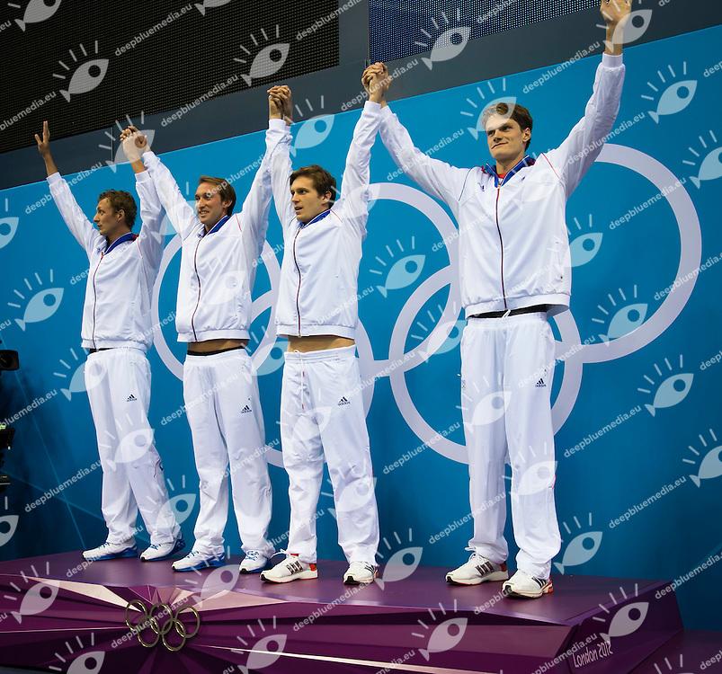 Team France.Fabien GILOT, Amaury Leveaux, Clement Lefert, Yannick Agnel.(Gold medal).Podium.Swimming finals.London 2012 Olympics - Olimpiadi Londra 2012.day 03 July 29.Photo G.Scala/Deepbluemedia.eu/Insidefoto