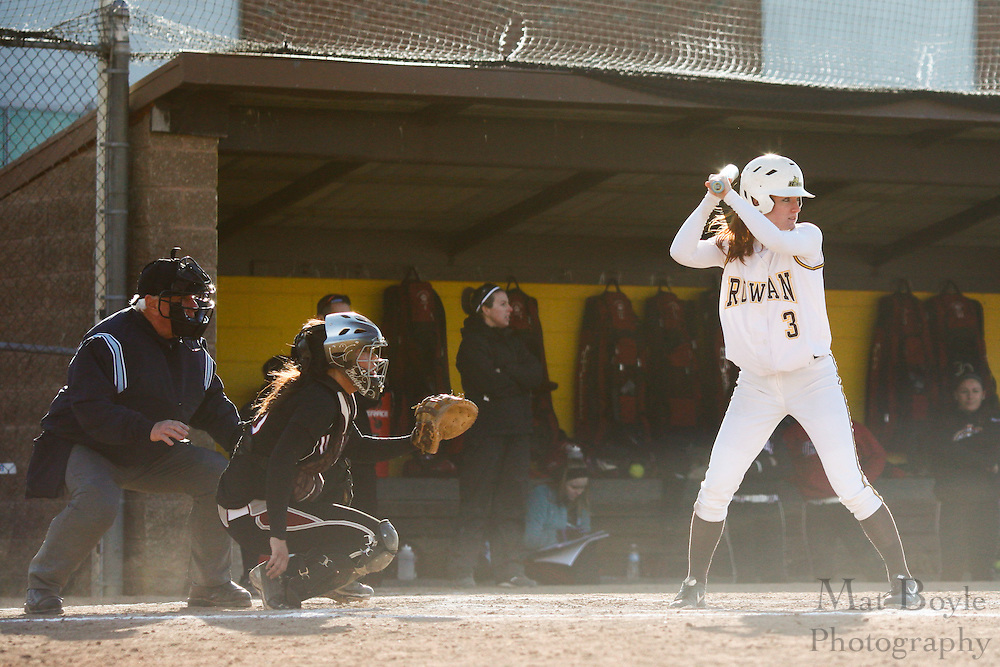 Rowan University Softball Sophomore Catcher/Outfielder Katie Bussman (3) - Ursinus College Softball vs Rowan University at Rowan University's Softball Field in Glassboro, NJ on Wednesday March 27, 2013. (photo / Mat Boyle)