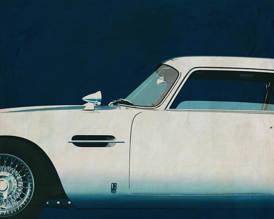 If you want to give your interior an extra stylish detail, this painting of an old racing car, an Aston Martin DB5, is perfect. –<br />
