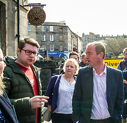 Pictured: Katy Gordon, Lib-Dem Election Chair, and  Tim Farron<br /> <br /> Liberal Democrat leader Tim Farron MP visited Edinburgh today and joined local MSP Alex Cole-Hamilton and council candidates to campaign in the upcoming council election in StockbridgeGer Harley | EEm 13 April 2017