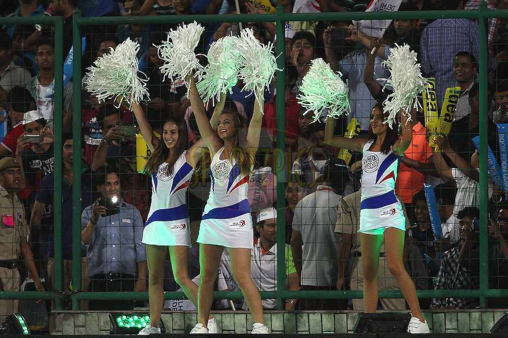 Cheerleaders perform during match 26 of the Pepsi Indian Premier League Season 2014 between the Delhi Daredevils and the Chennai Super Kings held at the Feroze Shah Kotla cricket stadium, Delhi, India on the 5th May  2014<br /> <br /> Photo by Shaun Roy / IPL / SPORTZPICS<br /> <br /> <br /> <br /> Image use subject to terms and conditions which can be found here:  http://sportzpics.photoshelter.com/gallery/Pepsi-IPL-Image-terms-and-conditions/G00004VW1IVJ.gB0/C0000TScjhBM6ikg
