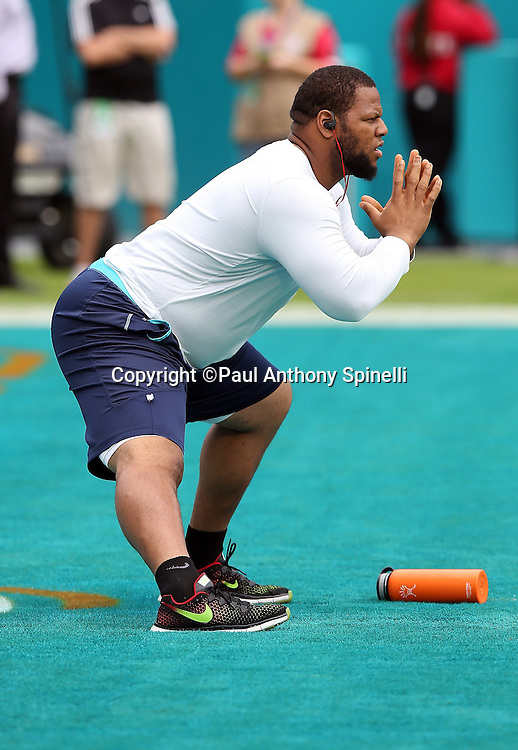Miami Dolphins defensive tackle Ndamukong Suh (93) stretches while warming up before the 2015 week 13 regular season NFL football game against the Baltimore Ravens on Sunday, Dec. 6, 2015 in Miami Gardens, Fla. The Dolphins won the game 15-13. (©Paul Anthony Spinelli)