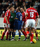 Photo: Javier Garcia/Back Page Images<br />Charlton Athletic v Arsenal, FA Barclays Premiership, The Valley 01/01/2005<br />The simmering feud between Herman Hreidarsson and Freddie Ljungverg continued at the Valley