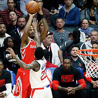 28 February 2018: Houston Rockets forward Trevor Ariza (1) takes a jump shot over LA Clippers guard Lou Williams (23) during the Houston Rockets 105-92 victory over the LA Clippers, at the Staples Center, Los Angeles, California, USA.