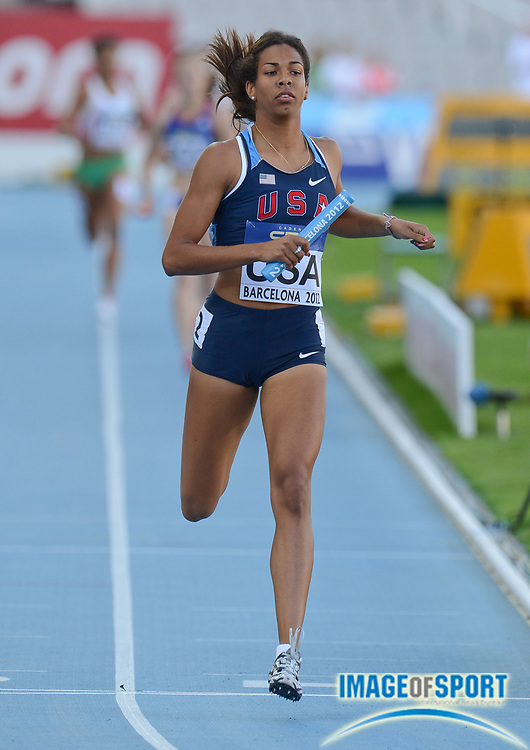 BARCELONA, Spain: Saturday 14 July 2012, Olivia Ekpone (USA) crosses the finish line in the women's 4x400m relay during day 5 of the IAAF World Junior Championships at the Estadi Olimpic de Montjuic.<br /> Mandatory Credit: Roger Sedres/Image SA-Image of Sport