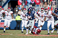OXFORD, MS - OCTOBER 28:  A.J. Brown #1 of the Ole Miss Rebels runs the ball during a game against the Arkansas Razorbacks at Hemingway Stadium on October 28, 2017 in Oxford, Mississippi.  The Razorbacks defeated the Rebels 38-37.  (Photo by Wesley Hitt/Getty Images) *** Local Caption *** A.J. Brown