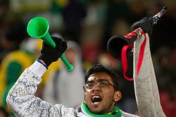 15.06.2010, Ellis Park, Johannesburg, RSA, FIFA WM 2010, Brasilien vs Nordkorea im Bild Fanfeature brasilianiescher Fan mit Vuvuzela, EXPA Pictures © 2010, PhotoCredit: EXPA/ Sportida/ Vid Ponikvar