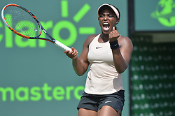 March 29, 2018 - Key Biscayne, Florida, US - SLOANE STEPHENS of the United States celebrates winning the match-point as she defeats V. Azarenka of Belarus in a women's semi-final match during the 2018 Miami Open at the Crandon Park Tennis Center. Stephens won 3-6, 6-2, 6-1. (Credit Image: © Andrew Patron via ZUMA Wire)