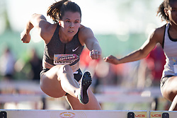 (Guelph, Canada---07 June 2019) Michelle Harrison running in the 100m hurdles at the 2019 Speed River Inferno Track and Field Festival held at Alumni Stadium at the University of Guelph. Copyright image 2019 Sean W Burges / Mundo Sport Images
