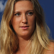 Victoria Azarenka, Belarus, during a press conference at the US Open. Flushing. New York, USA. 24th August 2013. Photo Tim Clayton