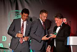 CARDIFF, WALES - Monday, October 2, 2017: FAW Player of the Year Chris Gunter is presented with the award by Vauxhall PR Director Denis Chick during the FAW Awards Dinner at the Hensol Castle. (Pic by David Rawcliffe/Propaganda)