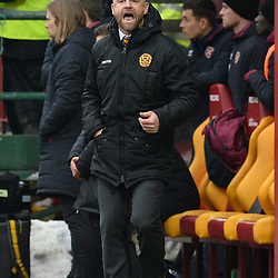Motherwell Manager Steve Robinson during the Scottish Cup quarter final between Motherwell and Hearts at Fir Park, where the home side made it into the semi final draw with a win.<br /> <br /> (c) Dave Johnston | sportPix.org.uk
