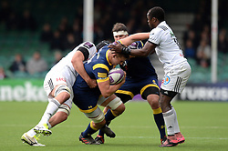 Huw Taylor of Worcester Warriors is challenged by Johan Snyman of Brive - Mandatory by-line: Dougie Allward/JMP - 22/10/2016 - RUGBY - Sixways Stadium - Worcester, England - Worcester Warriors v Brive - European Challenge Cup