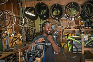 Martell Posey of The Spoke Folks bike co-op in Grand Rapids, Michigan.