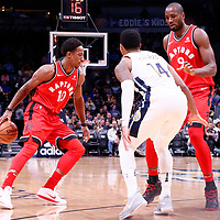 01 November 2017: Toronto Raptors guard DeMar DeRozan (10) drives past Denver Nuggets guard Gary Harris (14) on a screen set by Toronto Raptors forward Serge Ibaka (9) during the Denver Nuggets 129-111 victory over the Toronto Raptors, at the Pepsi Center, Denver, Colorado, USA.