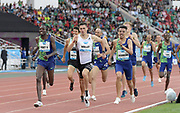 Jun 16, 2019; Rabat, Morocco; Vincent Kibet (KEN) defeats Hicham Akankam (MAR) and Alexis Miellet (FRA) to win the 1,500m in 3:35.80 during the Meeting International Mohammed VI d'Athletisme de Rabat at Prince Moulay Abdellah Stadium. Akankam was second in 3:35.85 and Mielett was third in 3:35.9. 8