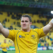 Australian captain James Horwill after his sides victory during the South Africa V Australia Quarter Final match at the IRB Rugby World Cup tournament. Wellington Regional Stadium, Wellington, New Zealand, 9th October 2011. Photo Tim Clayton...