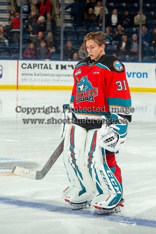 KELOWNA, BC - OCTOBER 16:  Cole Schwebius #31 of the Kelowna Rockets lines up against the Swift Current Broncos at Prospera Place on October 16, 2019 in Kelowna, Canada. (Photo by Marissa Baecker/Shoot the Breeze)