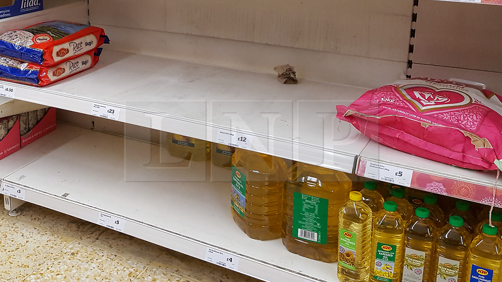 © Licensed to London News Pictures. 11/03/2020. London, UK. Sainsbury's store in London runs low of rice amid an increased number of cases of Coronavirus (COVID-19) in the UK. Major supermarkets have started to ration certain products after shoppers began to stockpile. Six coronavirus victims have died and 373 cases have tested positive of the virus. Photo credit: Dinendra Haria/LNP