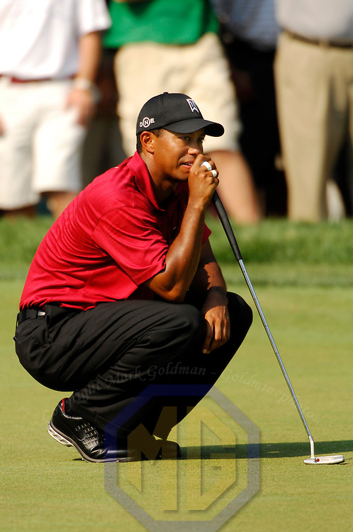08 July 2007:  Tiger Woods contemplates his putt for a par on the 15th hole in the final round of the inaugural AT&T National PGA event at Congressional Country Club in Bethesda, Md. Woods finished in a tie for 6th place with a 2 under par score of 278.   K. J. Choi won the tournament with a 9 under par score of 271.  ****For Editorial Use Only****