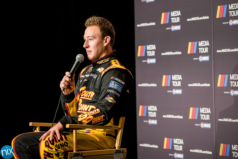 Daniel Hemric talks with the media during the NASCAR Media Tour hosted by Charlotte Motor Speedway Tuesday, January 23, 2018.