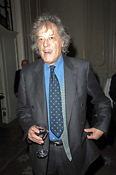 SIR TOM STOPPARD at a party to celebrate Penguin's reissue of Nancy Mitford's 'Wigs on The Green' hosted by Tatler at Claridge's, Brook Street, London on 10th March 2010.