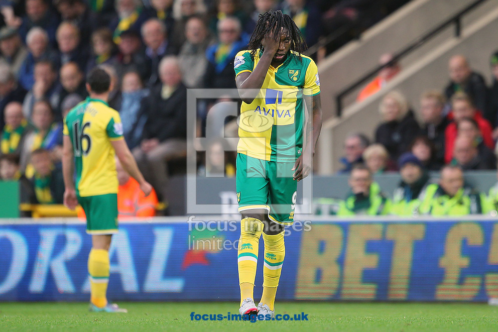 Dieumerci Mbokani of Norwich during the Barclays Premier League match at Carrow Road, Norwich<br /> Picture by Paul Chesterton/Focus Images Ltd +44 7904 640267<br /> 24/10/2015