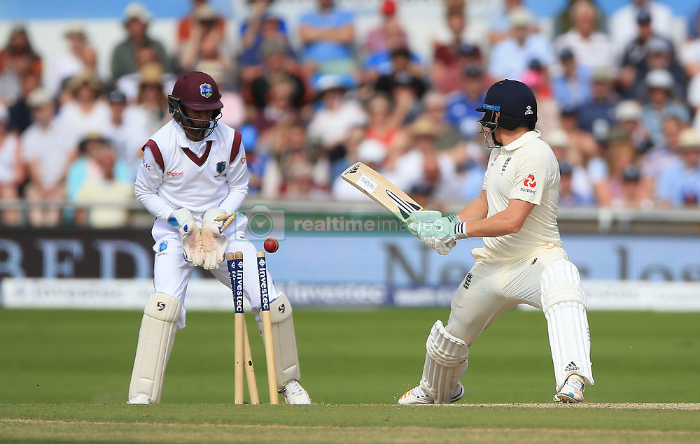 England's Jonny Bairstow is bowled by West Indies Roston Chase during day four of the the second Investec Test match at Headingley, Leeds.