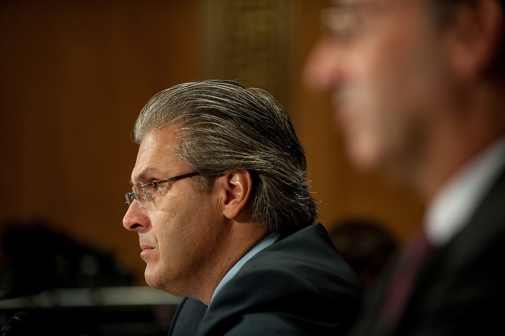 "May 5,2010 - Washington, District of Columbia USA - Former Bear Steans executive Samuel Molinaro Jr., former CFO and chief operating office appears before the Financial Crisis Inquiry Commission (FCIC) public hearing titled ""The Shadow Banking System"" - the system of bank-like financial institutions and markets operating outside of the regulatory structure for traditional banking activities. ..The bi-partisan 10-member Financial Crisis Inquiry Commission was created by Congress and is charged with examining the causes of the financial meltdown. It is also examining causes of the collapse of major financial institutions that failed or would likely have failed had they not received exceptional government assistance...Findings and conclusions are to be presented in a formal report to Congress and the President by December 15, 2010. .(Credit Image: © Pete Marovich/ZUMA Press)"