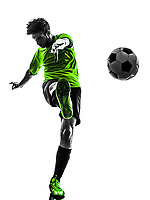 one soccer football player young man kicking in silhouette