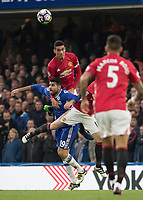 Football - 2016/2017 Premier League - Chelsea V Manchester United<br /> <br /> Diego Costa of Chelsea is outjumped by Chris Smalling of Manchester United at Stamford Bridge.<br /> <br /> COLORSPORT/DANIEL BEARHAM
