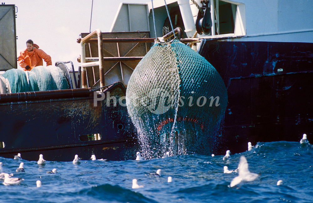 Danish industrial fishing vessel hauling in its nets; North Sea
