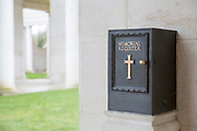 A memorial register box attached to the wall of a memorial building.  Faubourg D'Amiens cemetery is the burial site of 2678 identified casualties and a memorial to thousands more from the First and Second World War.  It is looked after and managed by the Commonwealth War Graves Commission in the town of Arras, France. (photo by Andrew Aitchison / In pictures via Getty Images)