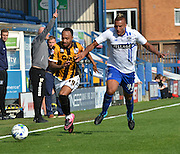 Byron Moore and Reece Brown at at it again during the Sky Bet League 1 match between Bury and Port Vale at Gigg Lane, Bury, England on 19 September 2015. Photo by Mark Pollitt.
