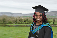 18/04/2017 REPRO FREE:  <br /> MFA graduate  Joan Nanfuka  at the 13th conferring ceremony, held in the Minstrels gallery the 16th century Newtown Castle at the heart of the BCA campus, exemplifies the continued success of the Burren&rsquo;s  alternative model of art education . <br /> The Irish and  international graduates included Elizabeth Matthews, conferred with  a PhD for her research on Utopian studies , and six international graduates whose work on display in the BCA gallery addressed the ultimate question, &ldquo;who am I called to be&rdquo; In her address President of the college Mary Hawkes Greene referred to the unique place based educational  model  committed to  individual student centred  education accredited by NUIGalway , and how it effectively  embraces the often conflicting forces of the global and the local, the public and the private as well as the collective and the individual. <br /> .  Photo:Andrew Downes, xposure